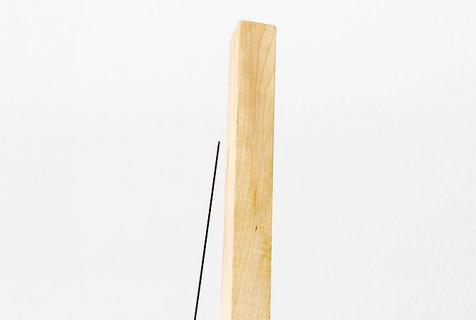 Stability Study (table) , 2012, detail, wood, rock, wire, magnet, 108 x 12 x 12 inches