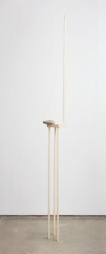 Stability Study (table) , 2012, wood, rock, wire, magnet, 108 x 12 x 12 inches