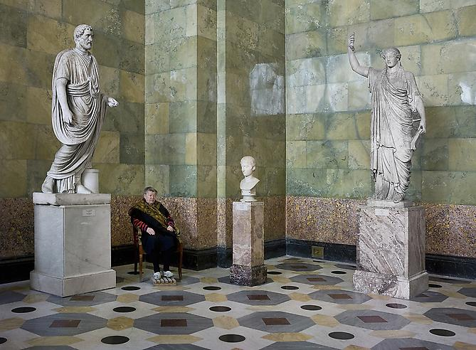 Andy Freeberg,  Statues of Antonius Pius, Youth and Caryatid, State Hermitage Museum , 2008 Archival pigment print