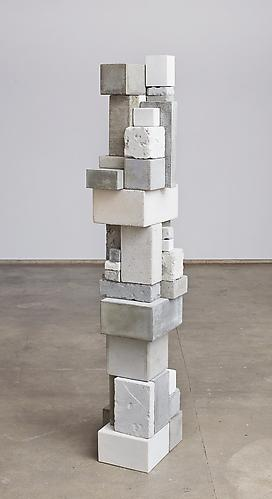 Surrogate (KRL) , 2012, cement, clock movements, mica, 68.5 x 10 x 13 inches