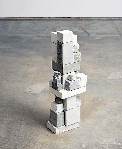 Surrogate (ARL) , 2012, cement, clock movements, mica, 33.5 x 10 x 10 inches