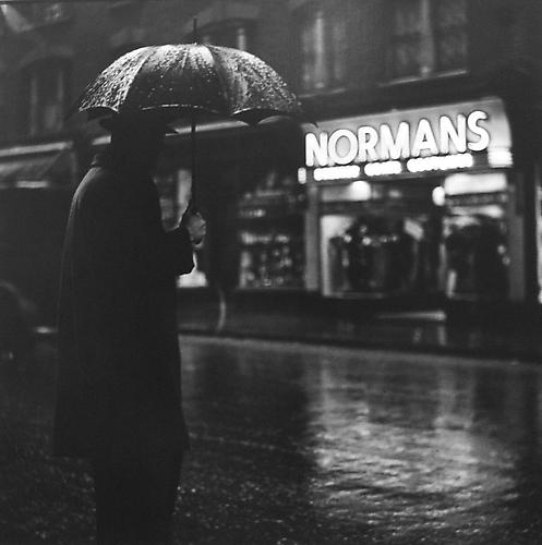 London, Charing Cross Road (umbrella at Normans) 1937 gelatin silver print