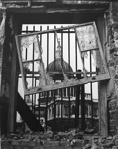 London, St. Paul's (through broken window)  1942 gelatin silver print