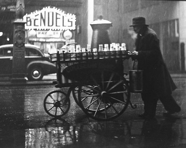London, Charing Cross Rd. (man with milk cart) 1936 gelatin silver print