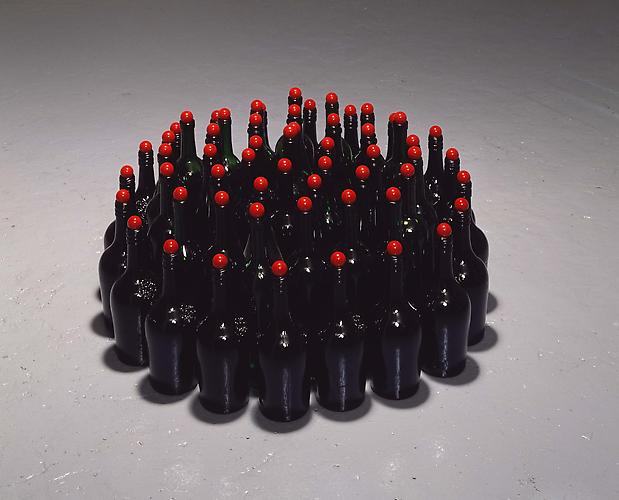 Tony Feher (Birth Stone) 2008  14 x 30 inches glass bottles, glass marbles