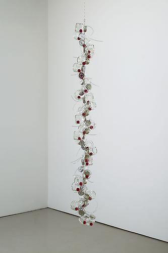 "Tony Feher Untitled, 2010 glass jars with metal screw caps, glass marbles. stainless steel wire, ""S"" hook and twine diameter: 55 x 8 inches"