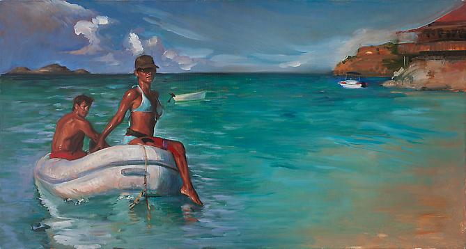 The Arrival By Sea of Raina Bouvier 3000, 2009 Oil on linen 16 x 30 inches