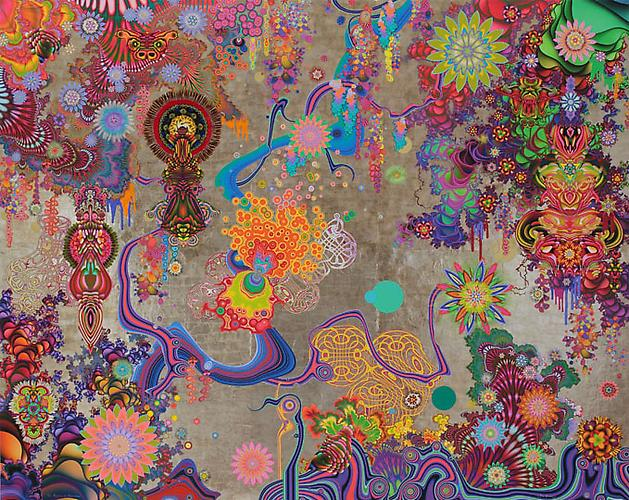 The Progress of Inspiration, 2008 Mica, enamel, gouache, feathers, porcupine quills, sequins 72 x 90 inches