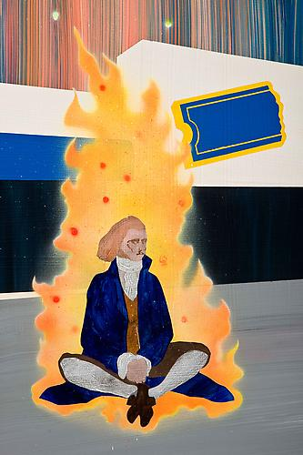 Thomas Jefferson Sets Himself on Fire in the Parking Lot of the Blockbuster Video Near The Creation Museum (detail), 2010 acrylic and spray paint