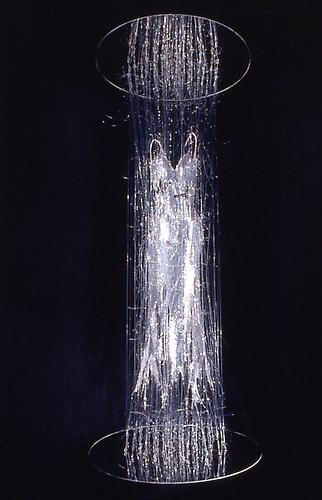 Transporter, 2000 Silver sequin dress with monofilament, turnbuckles and mirrored disks 115 x 48 x 48 Collection of Heather and Tony Podesta, Falls Church, VA