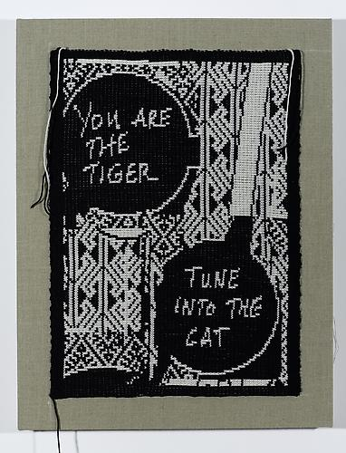 Tune Into the Cat, 2014 Knitted Wool on Linen  26 x 20 inches 66 x 50.8 cm