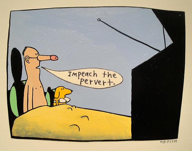 Impeach the Pervert, 1997 Acrylic on paper 4.5 x 6.5 inches