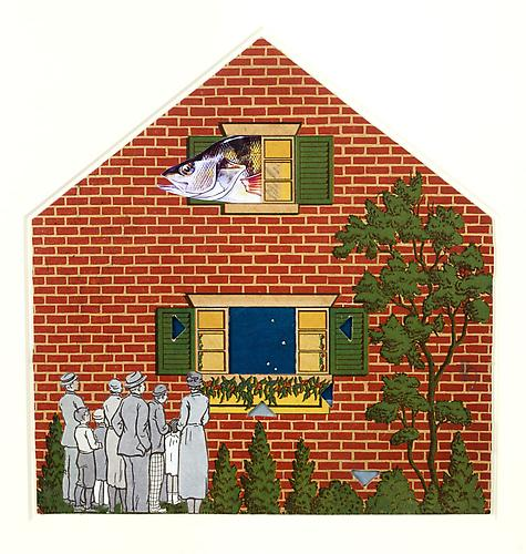 "Varujan Boghosian, 2012  A Room With A View , collage 10"" x 9.5"""