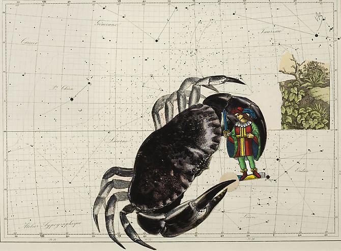 "Varujan Boghosian, 2012  St. George And The Dragon , collage 10.25"" x 14"""
