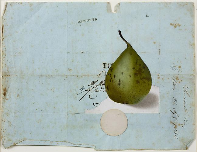 "Varujan Boghosian, 2012  The Pear,  collage 8.5"" x 11"""