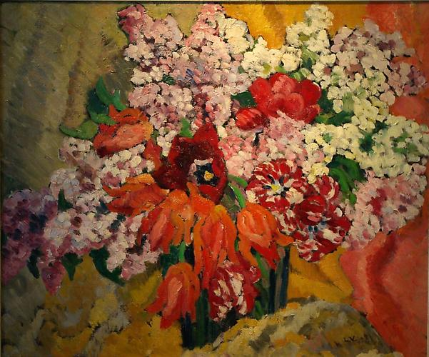 SOLD Vases des Fleurs, c. 1930 Oil on canvas, 21 x 25 inches inches (55 x 65 cm) Initialed lower right: L.V.