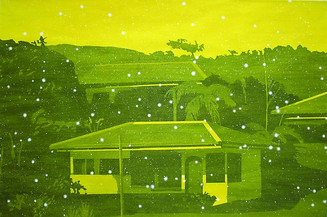 Volcano Village - Yellow 2011 Liquid Graphite and Acrylic on paper 20x30