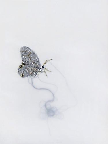 "White Butterfly, 2012 Glass beads, thread, vellum 27"" x 21"""