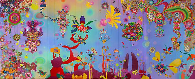 We Came from the Stars, 2011 Acrylic, enamel, ink, colored pencil, organdy, feathers and mixed media on archival Epson ultrachrome print 72 x 184 inches