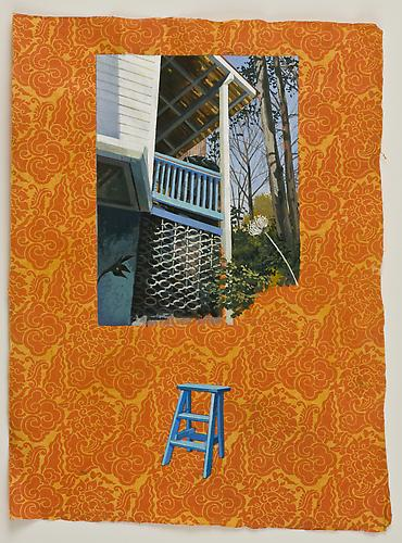 Anda Dubinskis  What She Does (Upstairs, Downstairs , 2011 gouache on paper, 22 x 15 inches Listing #5