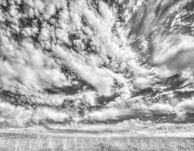 Summer Clouds and Grassy Field gelatin silver print
