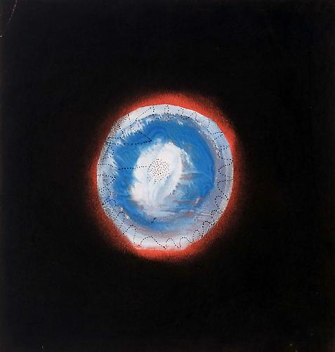 Yayoi Kusama Snow Ball in Sunset (Snow Ball in Sansunset), 1953 pastel and tempera with black ink on red paper 10 1/2 x 10 inches