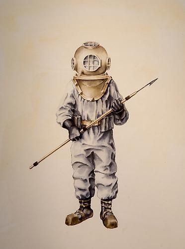 Diver, 2011 watercolor on Arches 19 x 14 inches
