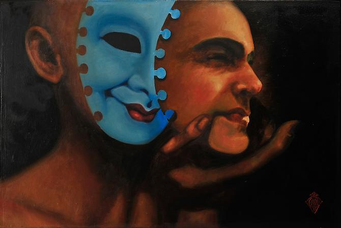 The Inner Mask Displaces the Face (2010)  -  Enquire  Oil on Canvas 70 x 100 cm