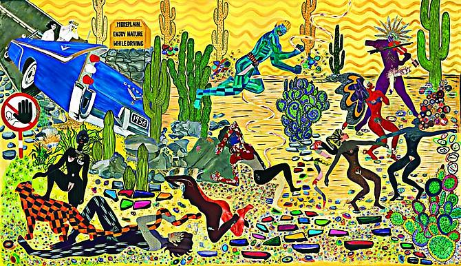 Holidays in an American Desert, 2007 acrylic and vintage silks on canvas 112 x 196 inches