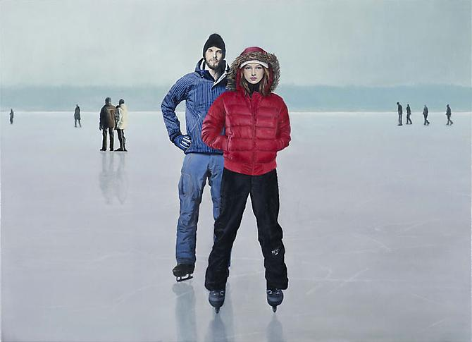 Skating, 2009 Oil on linen 30.3 x 21.6 in.