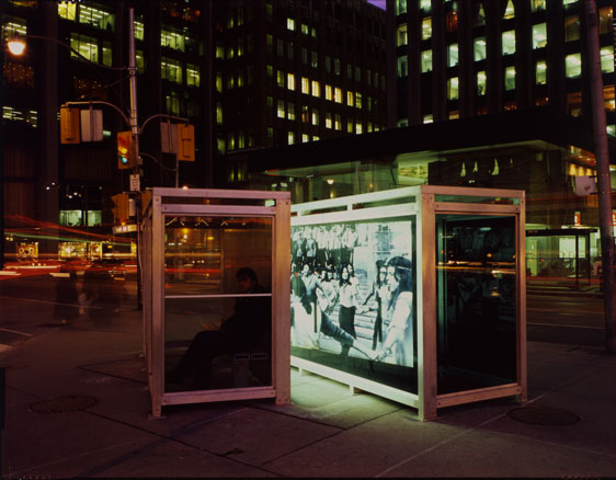 Bus Shelter VIII,  1988 Aluminum, smoked and clear high-tempered glass, galvanized steel hardware, and Duratrans under glass, back-illuminated with florescent light 86 x 144 x 53 in. each