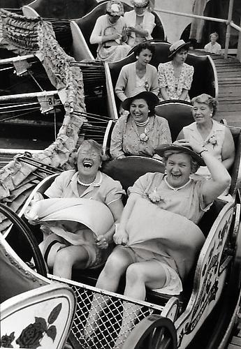 On the Caterpillar, Women's Pub Outing, Clapham, London 1956 gelatin silver print