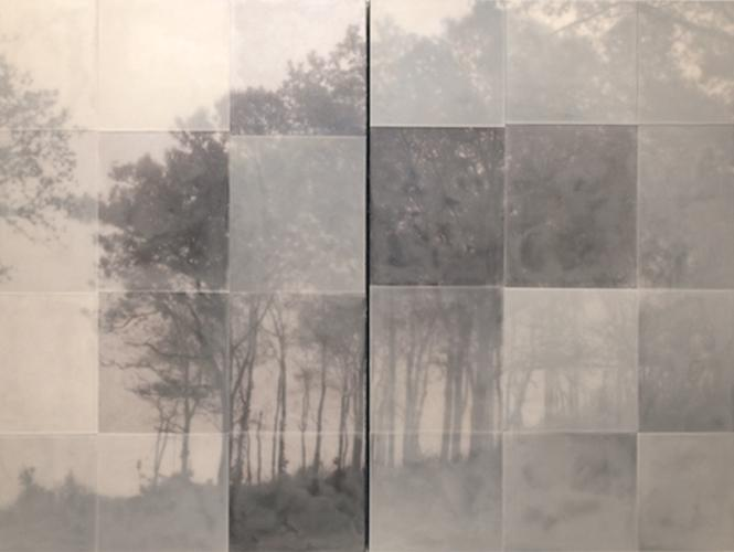 Sojourn, 2011 encaustic on archival print mounted on wood 48 x 60 inches (diptych)
