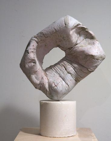 Christopher Astley Space Dabwe II, 2013 concrete, alabaster, brass, and paint 21 x 30 x 10 inches