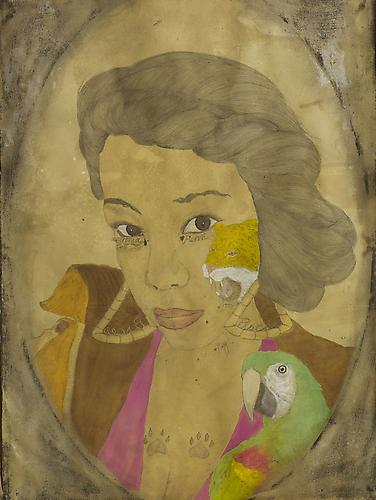 La Quita of the Tairona (2012) Acrylic, Ink, Coffee, Tea On Paper 30h x 22.5w in (76.2h x 57.15w cm)