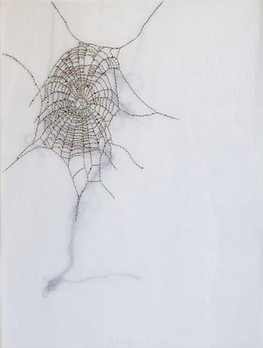 Spider Web, 2009 Glass beads and thread on vellum 21 x 27 inches