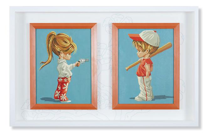 Hey You! (Let's Play), 2011. Acrylic on vintage paint-by-number panels with hand silk screened wallpaper, 18 x 28 inches.