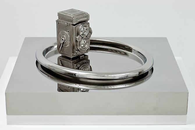 Ordinary Obsessions (Rolleiflex), 2010 Stainless steel 9 ½ x 19 ¾ x 19 ¾ inches