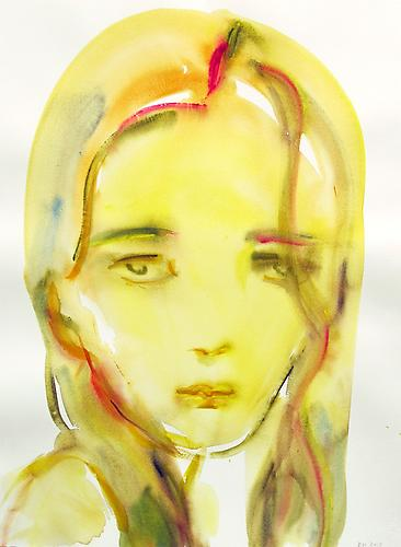 Kim McCarty, Hair Over Eye (2013) Watercolor On Paper 30h x 22w in (76.2h x 55.88w cm)