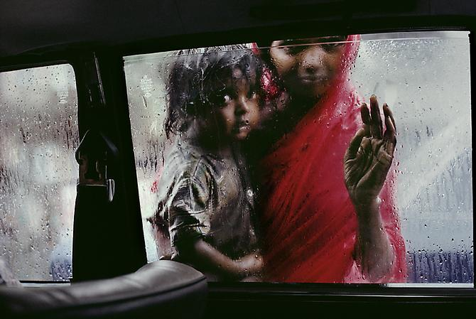 Mother and Child at Car Window, Bombay, India