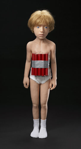 Dietrich Wegner Bomber boy Silicone, human hair, cotton, urethane, copper wire, duct tape 7'' x 9'' x 38''