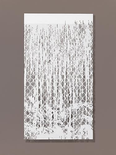 Falling Water I, 2010 Cut paper, Chinese xuan (rice) paper on silk  27 x 50 inches
