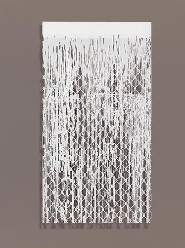 Falling Water II, 2010 Cut paper, Chinese xuan (rice) paper on silk 27 x 50 inches