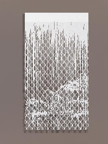 Falling Water III, 2010 Cut paper, Chinese xuan (rice) paper on silk 27 x 50 inches