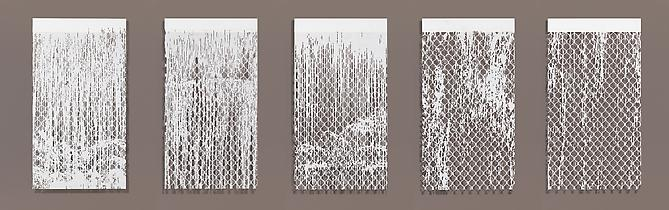 Falling Water, 2010 Cut paper, Chinese xuan (rice) paper on silk 27 x 50 inches (individually)