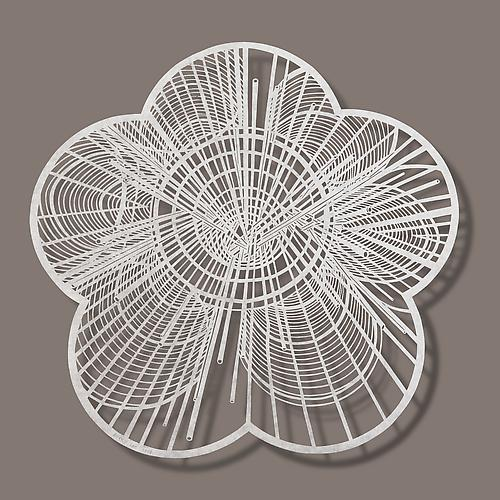 Plum Blossom - Rebar, 2014 Cut paper, Chinese rice paper on silk 14x14 inches 19x19 inches (framed)