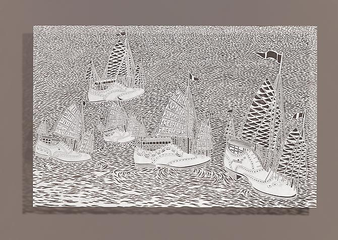 Wingtip Racing, 2012 Cut paper, Chinese xuan (rice) paper on silk 40.5 x 26 inches