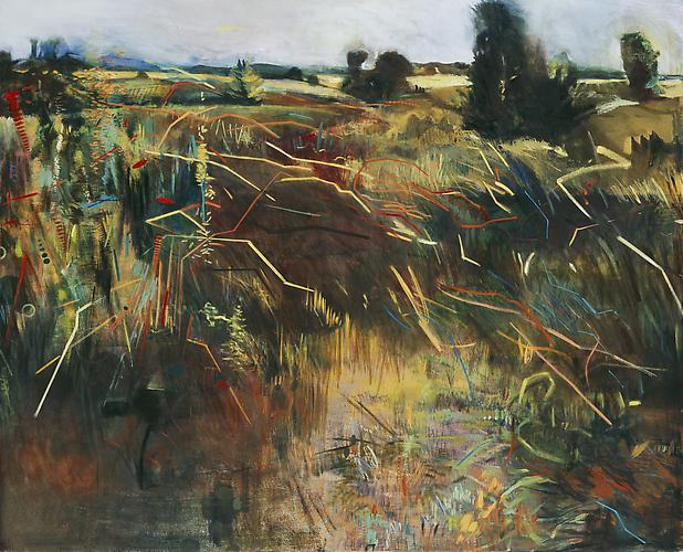 Bunny Harvey, 2006  Field Chatter,  oil on canvas 54″ x 66″