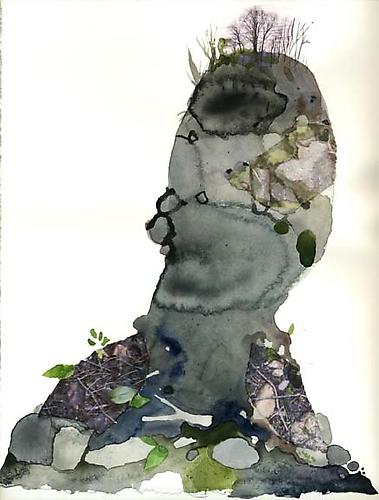 Bust 1, 2007 Watercolor, ink, collage on paper 11 x 14 inches