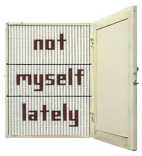 John Salvest, Not Myself Lately (2008) Wood, Mirror, Glass, Aspirin, Ibuprofen 16h x 18w x 16d in (40.64h x 45.72w x 40.64d cm)